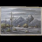 Ernest Berke Large Signed Original Western Oil Painting Night Desert Landscape