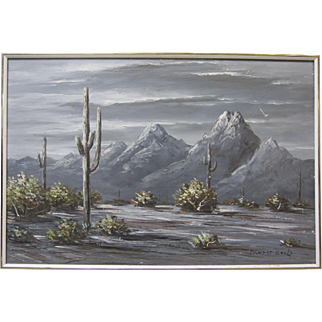 Ernest Berke Large Signed Original Western Oil Painting Night Desert Landscape