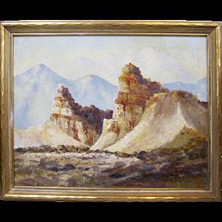Edward Langley Large Desert Landscape Early California Plein Air Impressionism
