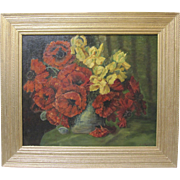 Emma Reyes Listed Columbian Folk Art Poppies Still Life