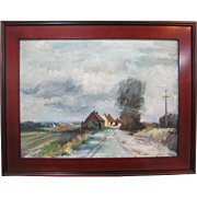 Edward Wesson Listed UK Artist Original Oil Painting Cornwall Village