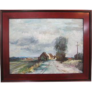 Edward Wesson Listed UK Artist Cornwall English Village Rural Town Impressionism Oil