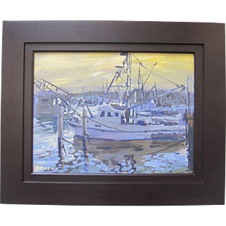 Gary Roberts Impressionist Fishing Boats Docks Sunset Seascape Signed Framed Art