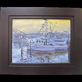 Gary Roberts Impressionist Fishing Boats Docks Sunset Seascape Signed Framed Art