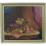 Large Original Dutch Flemish School 19th Century Still Life Oil Painting 30x34