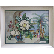 Florence Gardner Original Watercolor Mid Century Modernism Hawaiian Landscape