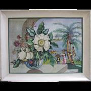 Florence Gardner Original Watercolor Mid Century Modernism Hawaiian Landscape