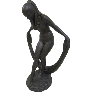 Frank James Morgan Bronze Resin Nude Bowing Female Sculpture