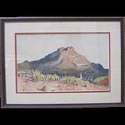 Flora McCaig Listed Art 1920s Early CA Watercolor Impressionism Desert Landscape