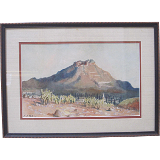 Flora McCaig Listed Art 1920s Early CA Watercolor Impressionism Desert Landscape