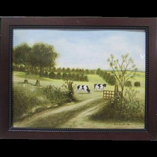 Frederick Sosath Vintage Original California Signed Art Landscape Cows Pastoral