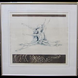"""G.H. ROTHE Signed """"School of Flight"""" Dance Suite Large Ballet Dancer Art"""