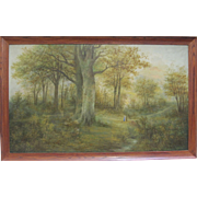 HARRIET FREEMAN WRIGHT Antique 19th Century Large Colorado Oil Landscape Painting Listed Art