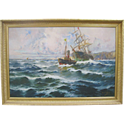 19th Century Spanish Maritime Large Oil Painting by Francisco Hernandez Monjo