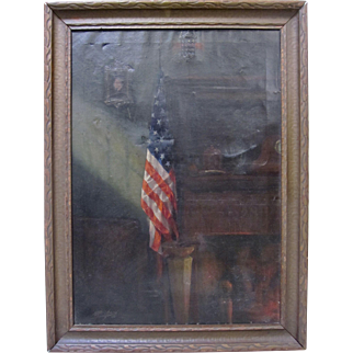 Original Vintage American Flag Signed 1920s Oil on Canvas Painting Folk Art