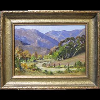 "Joane Cromwell Early CA Plein Air Impressionist Landscape ""Malibu Canyon"" 1934"