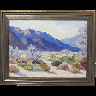 Joane Cromwell Early California Plein Air Impressionist Purple Desert Landscape Framed