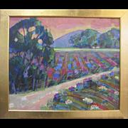 James Hartman Half Moon Bay Flower Fields Original California Listed Art