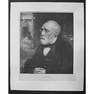 JOZEF ISRAELS Hand-Signed Photogravure Dutch Art 19th Century JAN VETH Portrait