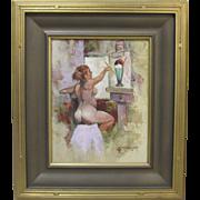 Jack Jordan Listed California Original Oil Painting Nude Female Artist