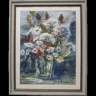 Jule H. Kullberg LISTED ARTIST Vintage Original Mid Century Flower Vase Painting
