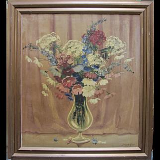 Large 1930s Still Life Flowers Oil Painting Signed Listed Artist JOSEPH LANE