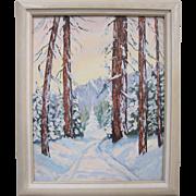 Jean Martin Listed Early California Plein Air Snowy Mountain Range