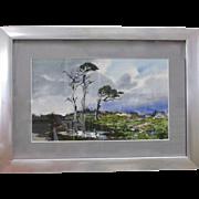 James March Phillips Listed Artist Mid Century Carmel CA Coastal Marine Watercolor