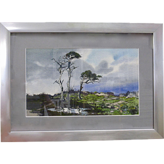 James Phillips Listed Artist Mid Century Carmel CA Coastal Marine Watercolor