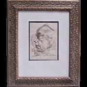 """Kathe Kollwitz Original Signed Charcoal Portrait Drawing """"Mutti"""""""