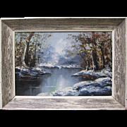 LEON BELAUNZARAN Listed Artist Original Signed Oil Painting Snow River Landscape