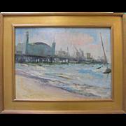 Leonard Poteshman VTG Original Fisherman's Wharf Pier 39 Beach Oil Painting