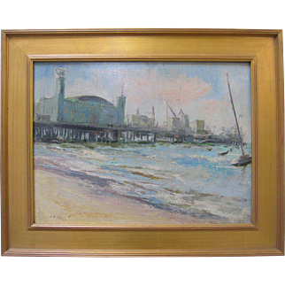 Leonard Poteshman VTG Original Fisherman's Wharf Pier 39 Beach Oil Painting