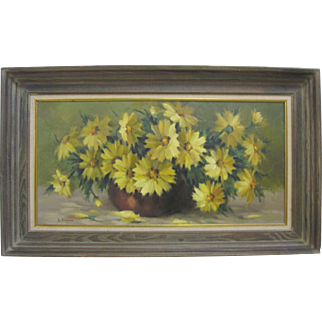 Lenore Watson Sherman Original Daisies Still Life Listed California Art