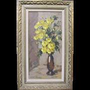 Lenore Watson Sherman Original Oil Painting Yellow Mums Flowers Still Life Listed California Art