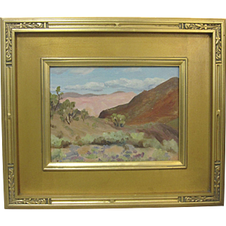 Langdon Smith Antique Original Oil Painting Palm Springs Desert Landscape Small