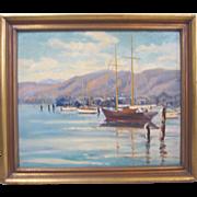 Lynn Winan Listed Early California Plein Air Boat Harbor
