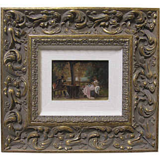 Antique Miniature English Oil Painting MARCUS CLAYTON STONE Victorian Lovers