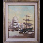 M. Hernandez Original Impressionist Loading Ships Tall Mast European Oil on Canvas