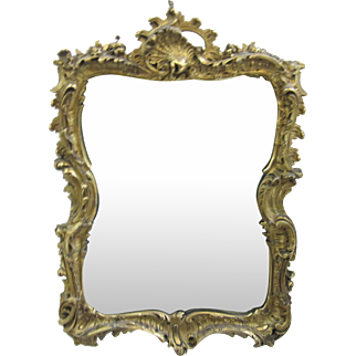 Louis XV Style French Rococo Gold Gilt Medium Wall Mirror Shells Carved