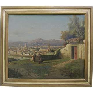Antique 19th/20th Century Original Oil Painting Monks Florence Italian Cityscape