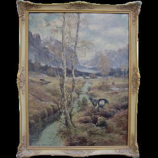 Antique German Swiss Austrian Alps Signed Mystery Artist Oil Landscape Pheasants