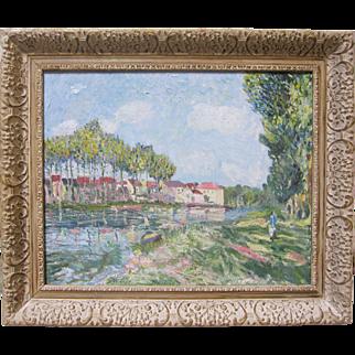Vintage Original Painting Impressionism Oil Landscape Town River Mystery Artist