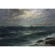 Ole Hansen Large Antique Early 20th C Listed Dutch Art Moonlit Seascape Marine Painting