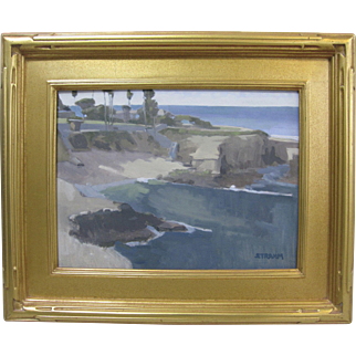 Paul Strahm Listed California Original Oil Painting La Jolla Cove 12x16