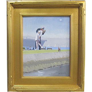 Paul Strahm Listed California Original Oil Painting Unconditional Surrender Sculpture