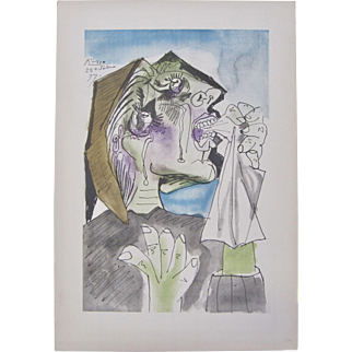 "Pablo Picasso RARE Pochoir Lithograph SIGNED DATED ""Weeping Woman"" 1937"