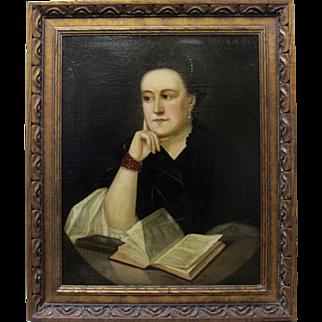Original 19th Century Seated Lady Portrait Dutch Style European Oil Painting