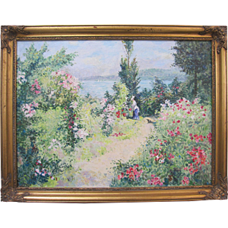 Signed Vintage American Impressionist Oil Painting Woman on Garden Path