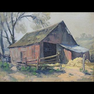 Ralph Love Early California Plein Air Medium Red Barn Oil Painting Landscape